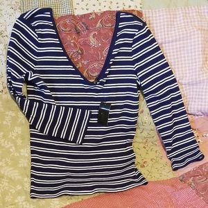 ⚡Flash🔥Express navy and white striped 3/4 shirt